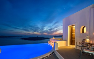 Cosmopolitan Suites Santorini luxury Cosmo Suite accommodation with sea view sunset in Fira.