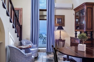 Cosmopolitan Suites Santorini luxury Villa Lounge room with caldera & sea view balcony in Fira